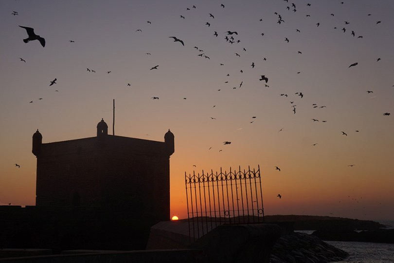 Essaouirra - Coucher de soleil sur la sqala