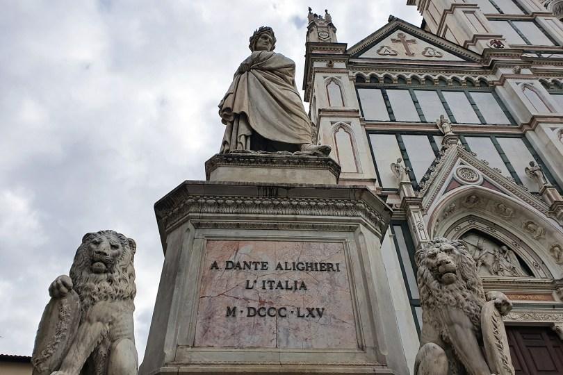 Florence : Statue de Dante devant la Basilique de Santa Croce