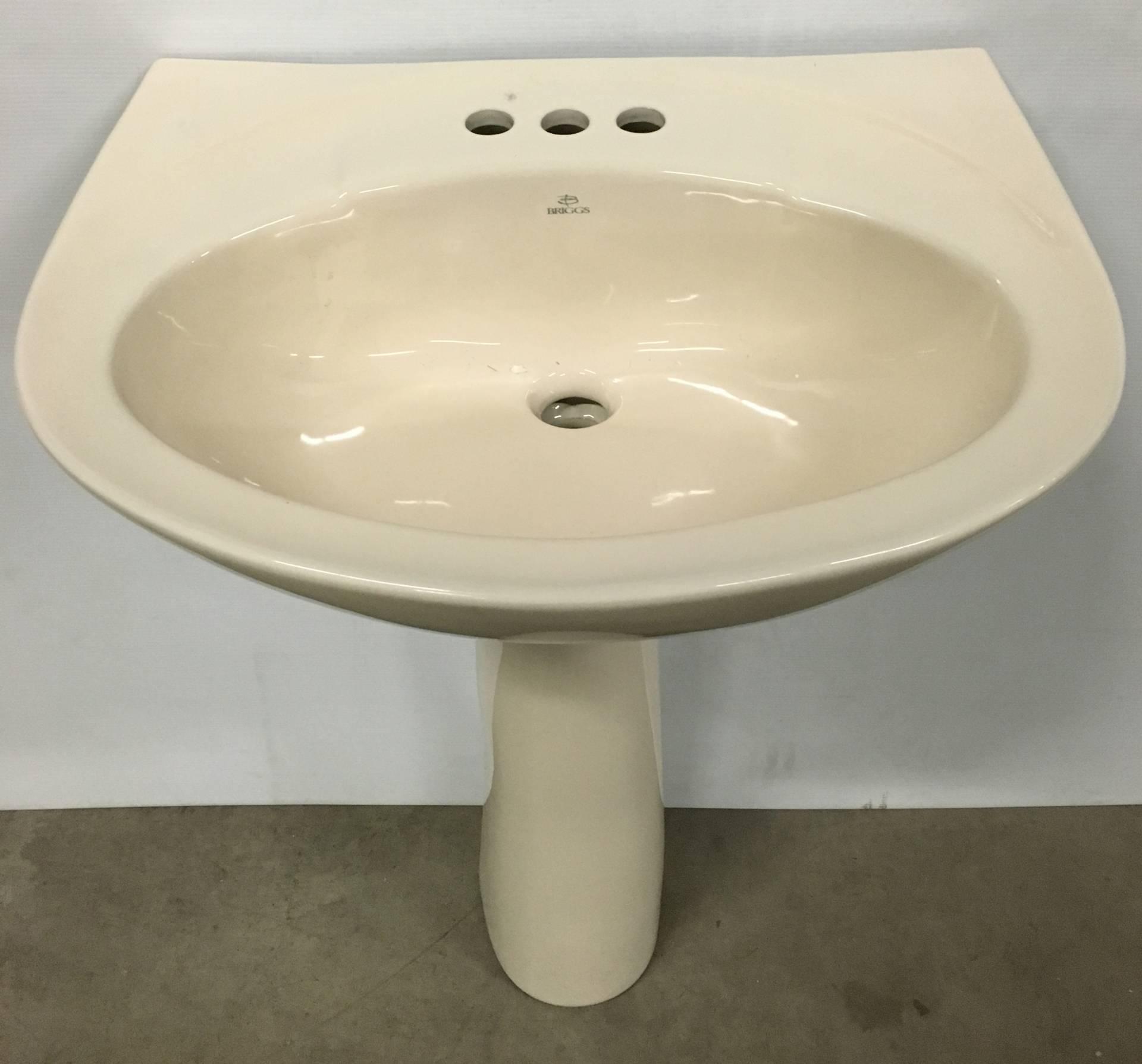 Briggs Altima Biscuit Pedestal Sink 4 Center Holes