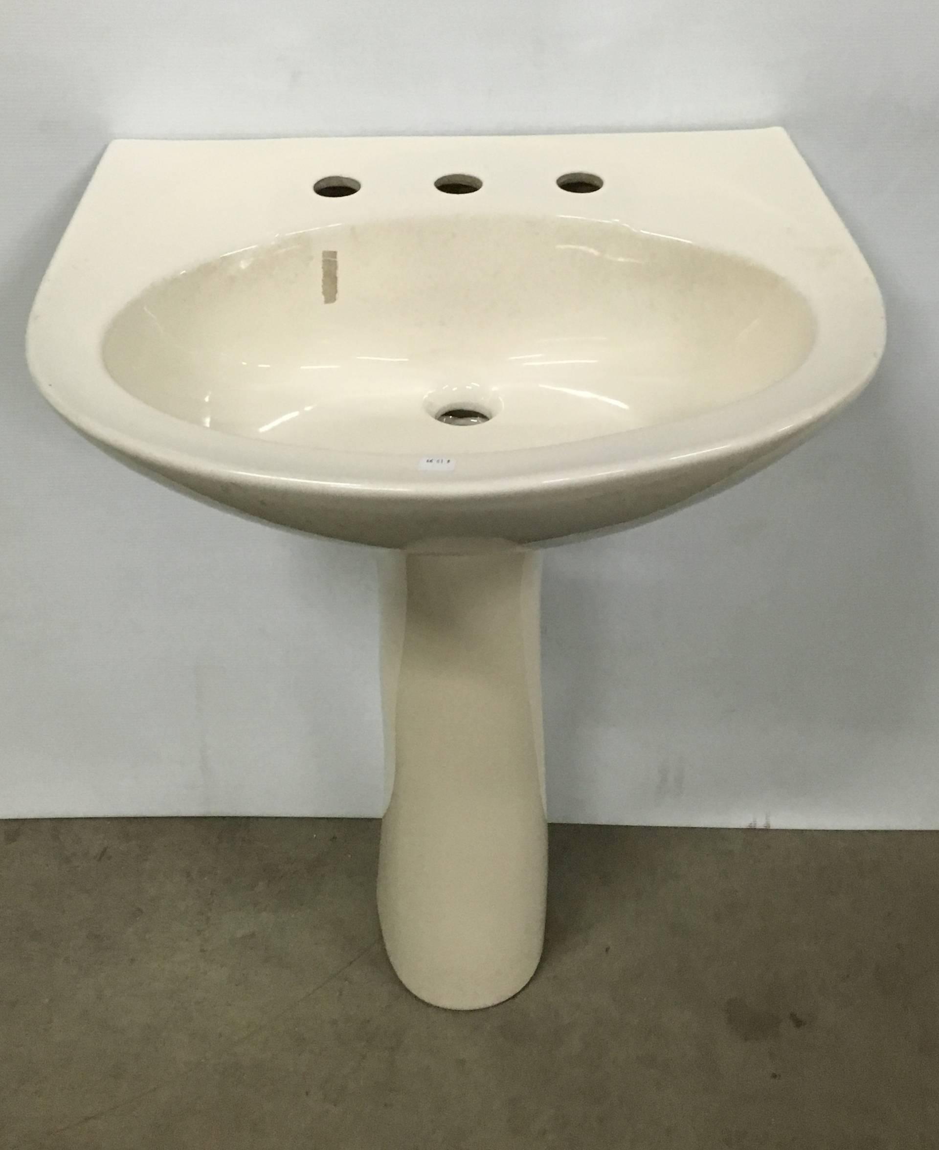 Briggs Altima Bone Pedestal Sink 8 Center Holes