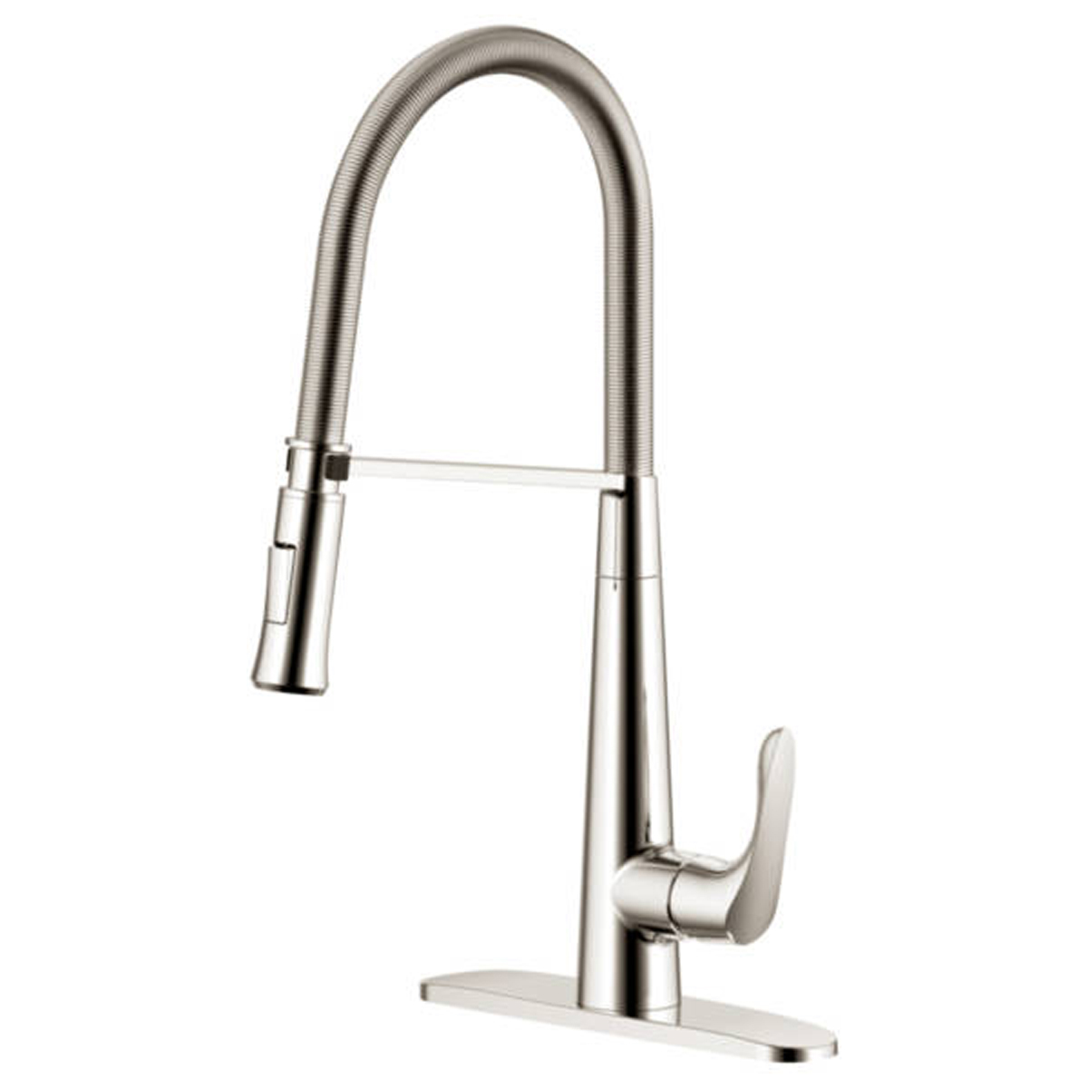 coiled kitchen faucet chandelier ideas freendo coil pull down brushed nickel
