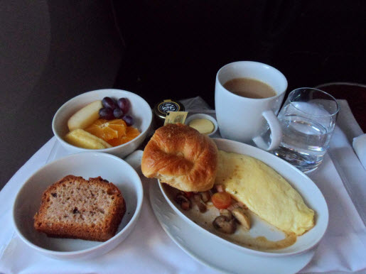 LAN premium business class breakfast