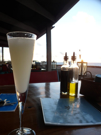 Pisco Sour at sunset Hako Hanu