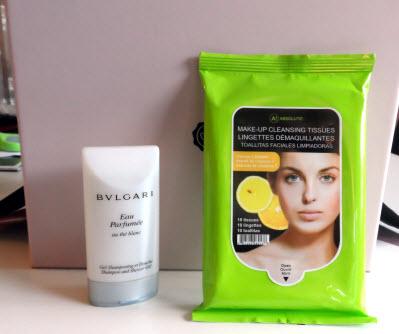 July Glossybox bulgari shower gel and nicka k new york make up remover