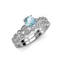 Aquamarine & Diamond Marquise Bridal Set Ring & Wedding ...