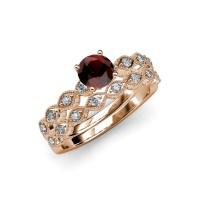 Red Garnet & Diamond Marquise Shape Engagement Ring ...