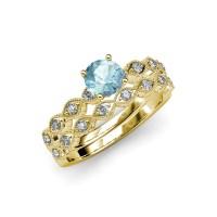 Aquamarine & Diamond Marquise Shape Engagement Ring ...