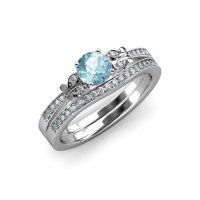 Aquamarine & Diamond Butterfly Engagement Ring & Wedding ...