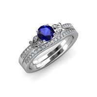 Blue Sapphire and Diamond Butterfly Engagement Ring ...