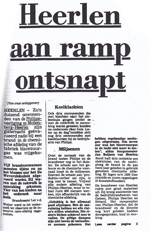 Bron: Limburger.nl | Heerlen aan ramp ontsnapt (19 april 1984)
