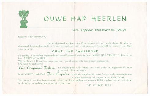 Bron: Privé collectie | Uitnodiging voor Ouwe Hap Heerlen