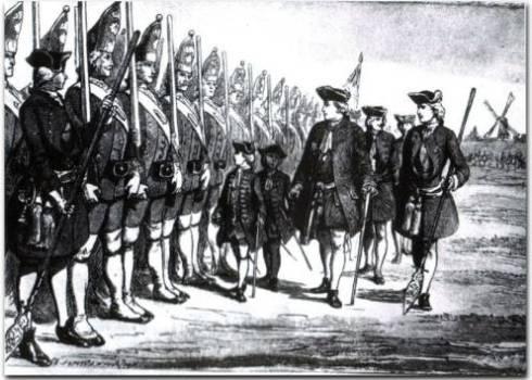 De vader van Frederik de Grote schouwt zijn Lange Kerle eenheid