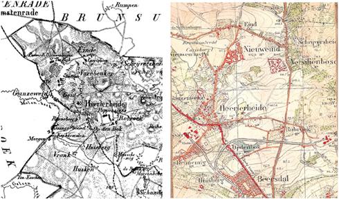 Kaart Heerlen-Noord ca 1850 | Kaart Heerlen-Noord ca 1920 (?)