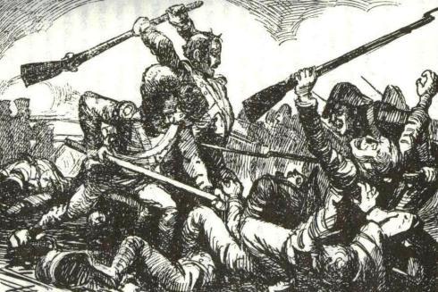 D'r Kueb tijdens een van de veldslagen
