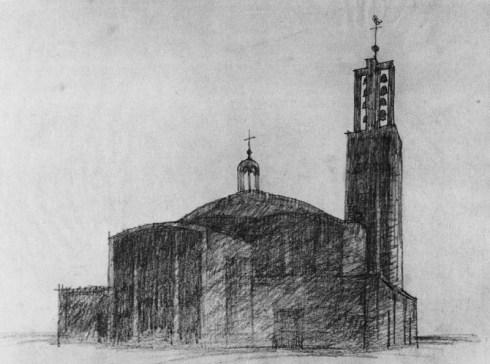 Archief  Rijckheyt  Schets Sint Anna kerk met toren, Peutz , 1951