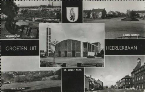 Ansichtkaart Heerlerbaan, 1968. Boven panorama van Heerlen en de wijk A-gen giesen (Giesenveld). Beneden panorama met o.m. de watertoren van Heerlerbaan, en de Rijksweg (Heerlerbaan). In het midden de St.Jozefkerk. | Bron: Reijckheyt