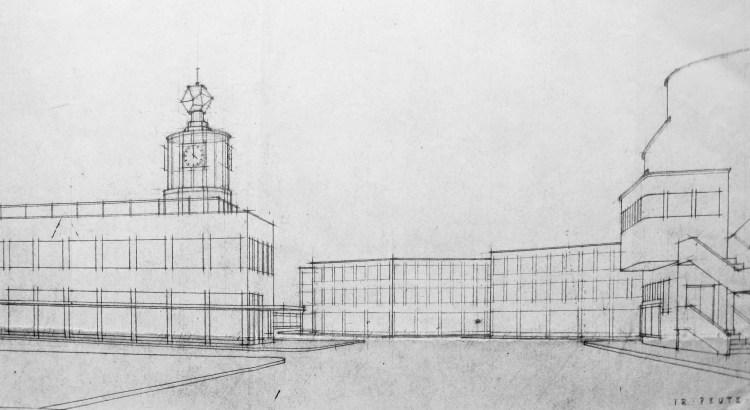Het plan van F.P.J. Peutz voor een nieuw station (westgevel met gedeelte van het Royal Theater) uit 1950