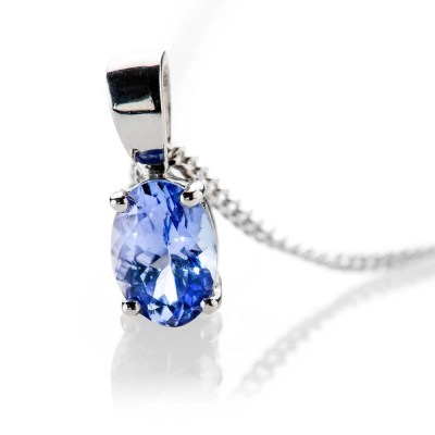 Heidi Kjeldsen Beautiful and Rare Tanzanite Oval Pendant 9ct White Gold - P1206+w9CB182.2-2