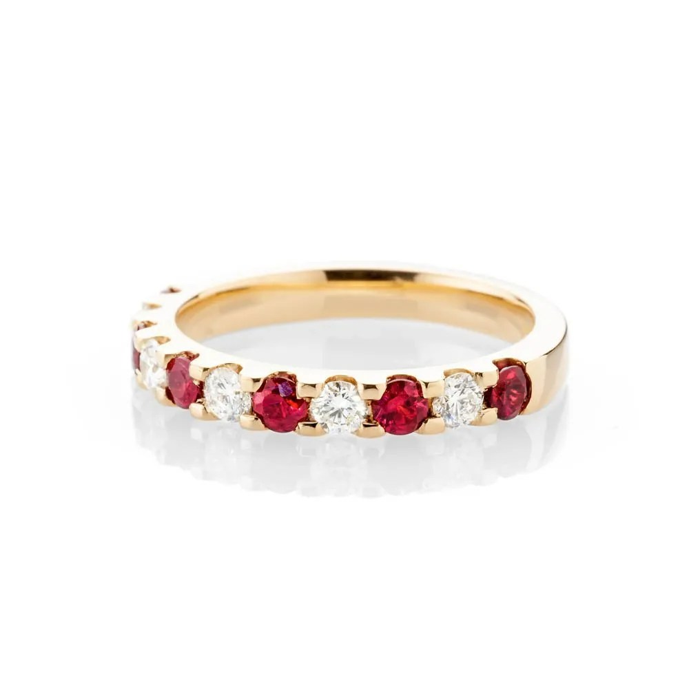 Dazzling Deep Red Natural Ruby, Brilliant Cut Diamond And Gold Eternity Ring