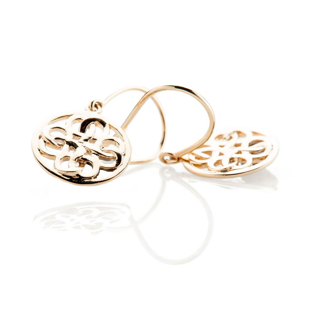 Beautiful Gold Viking Love Knot Drop Earrings