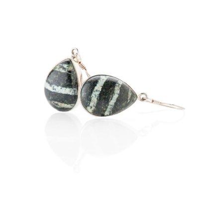 Striking Natural Chrysotile In Serpentine Sterling Silver Drop Shaped Earrings - Heidi Kjeldsen Jewellery - ER2341-2