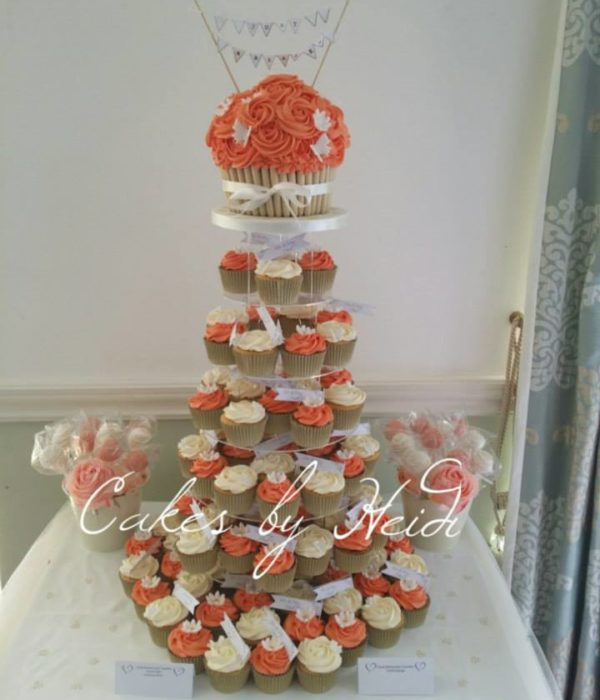 Coral and cream giant cupcake tower