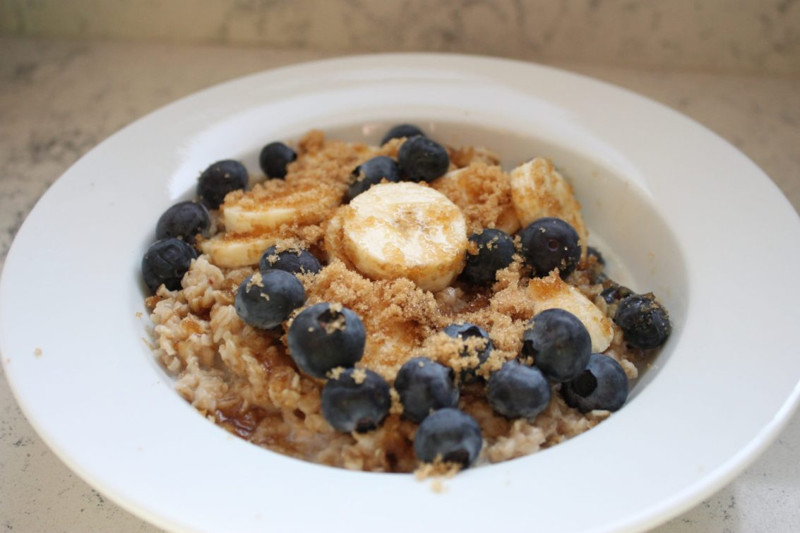 steel cut oats with blueberries and bananas