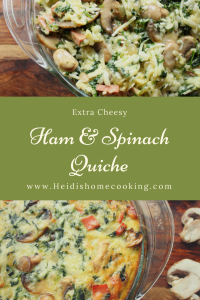 This crustless ham and spinach quiche is perfect for breakfast but hearty enough for dinner. Packed full of onions, mushrooms, and spinach, this quiche is a veggie lover's dream! But the carnivores in your life will love it too because it can be made with ham, turkey, bacon, bologna, or even spam. This easy recipe is a great option for brunch, a baby shower, or even Mother's Day.