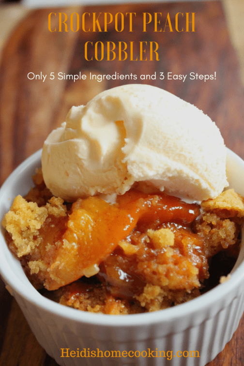 This scrumptious Crockpot peach cobbler recipe has to be the easiest and best homemade dessert! Use fresh, frozen, or canned peaches with cake mix and 3.5 hours later you'll have the perfect old fashioned southern dessert. The slow cooker makes this recipe easy and the ingredients are versatile. Keep the basics the same and you can try other fruits like blueberries, apples, and cherries. I served our peach cobbler in individual ramekins topped with vanilla ice cream. You simply HAVE to try this recipe!