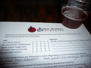 Grimm Brothers Brewhouse beer tasting at Pourhouse Bar & Grill in Loveland, Colorado. Photo by H.M. Kerr-Schlaefer