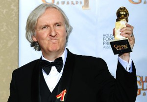 "Director James Cameron poses with the award for best motion picture drama for ""Avatar"" backstage at the 67th Annual Golden Globe Awards on Sunday, Jan. 17, 2010, in Beverly Hills, Calif. (AP Photo/Mark J. Terrill)"