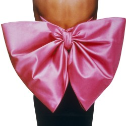 Yves Saint Laurent_ Black dress w-pink bow-photo by Gilles Tapie