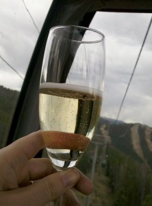 champagne on the gondola at TBEX
