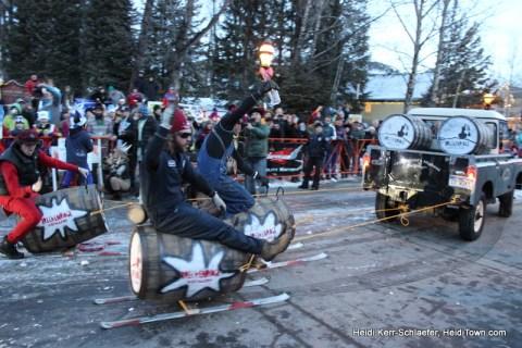 Guys riding keg skis Ullr Parade 2013 HeidiTown