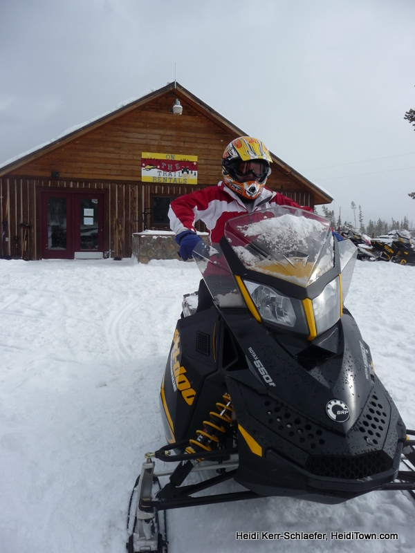 Heidi at ON the Trail Rentals snowmobiling HeidiTown