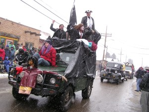 Parade of Hearses at Frozen Dead Guy Days.