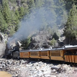 the Durango & Silverton Narrow Gauge Railroad chugging through the canyon HeidiTown.com