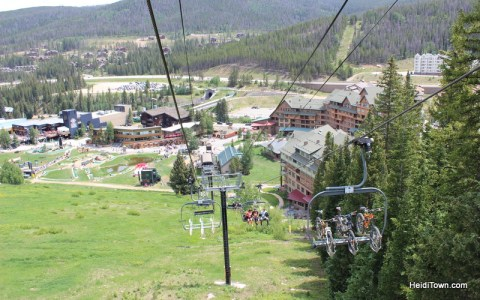 bikes on the chairlift at Winter Park Resort. HeidiTown.com