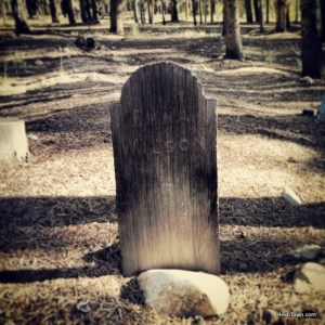 a wooden grave marker in the Leadville Cemetery, HeidiTown.com