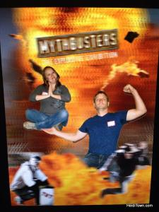 Photo of Heidi & Ryan at the Mythbusters exhibit at the Denver Museum of Nature & Science. HeidiTown.com