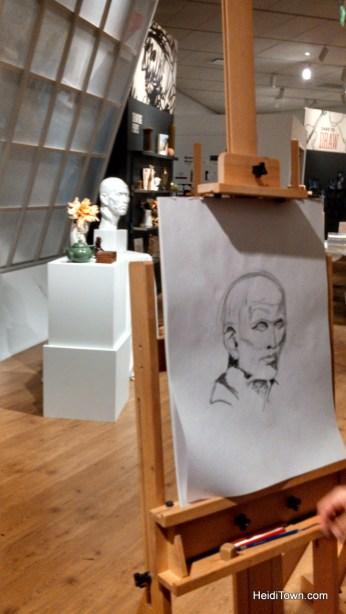 Ryan's drawing at Passport to Paris at the Denver Art Museum. HeidiTown.com