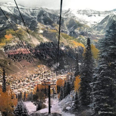 downtown Telluride covered in fresh snow