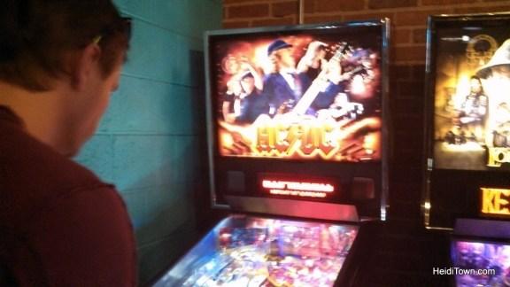 playing pinball at Punch Bowl Social in Denver, Colorado. HeidiTown.com