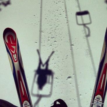 Ryan riding the chairlift in Powderhorn Mountain Resort. HeidiTown.com