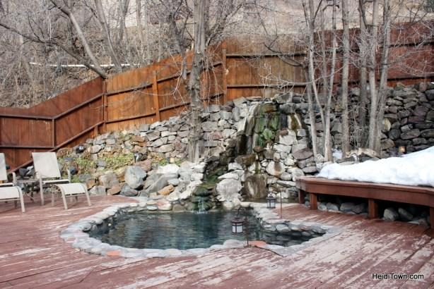 Lorelei private hot spring at the Wiesbaden in Ouray, Colorado. HeidiTown.com