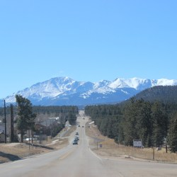 The view of Pikes Peak from Woodland Park, Colorado. HeidiTown.com