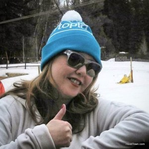 Heidi Kerr-Schlaefer in her Liftopia hat in Vail, Colorado. HeidiTown.com