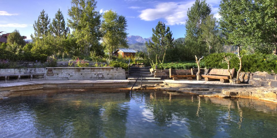 Main hot springs pool at Orvis Hot Springs in Ridgeway, Colorado