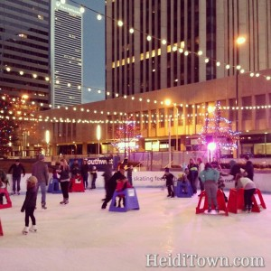 Ice skaters at Skyline Park in downtown Denver, Colorado.
