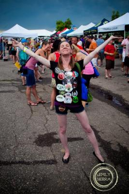 Lisa Levy made herself a brewery sticker shirt at Front Range Rally. Photo by Emily Sierra Photography. HeidiTown.com